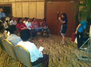 Participants engaging in group work.
