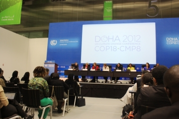 "UNFCCC's side event ""Gender and Climate: Moving beyond the Rhetoric"" at COP 18 in Doha."