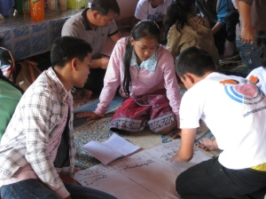Students compiling the information collected from the villagers in groups.
