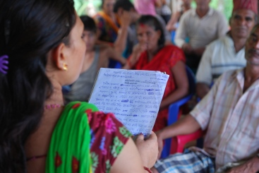 A community meets to discuss climate change adaptation responses