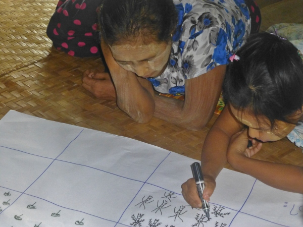 War Kone villagers drawing changes in natural resources